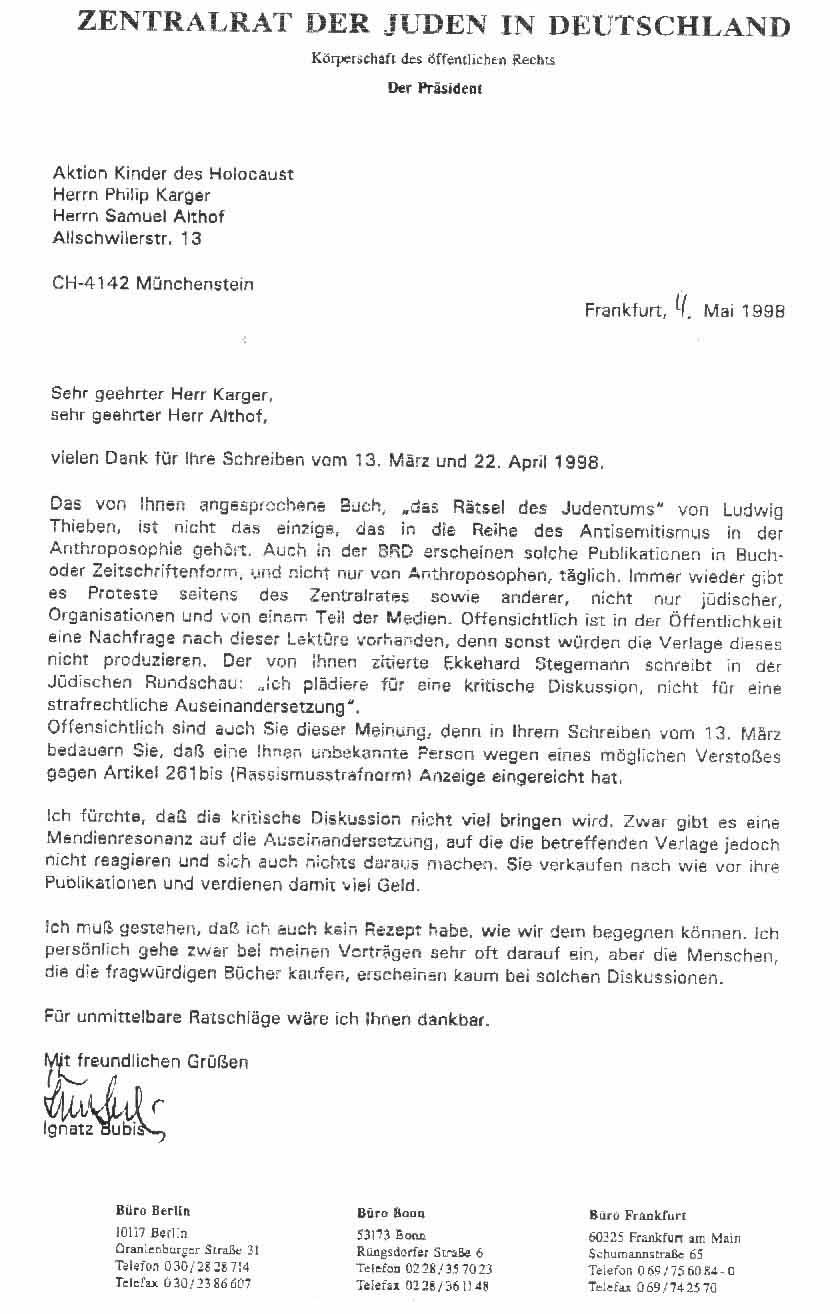 Brief von Ignatz Bubis and die Aktion Kinder des Holocaust